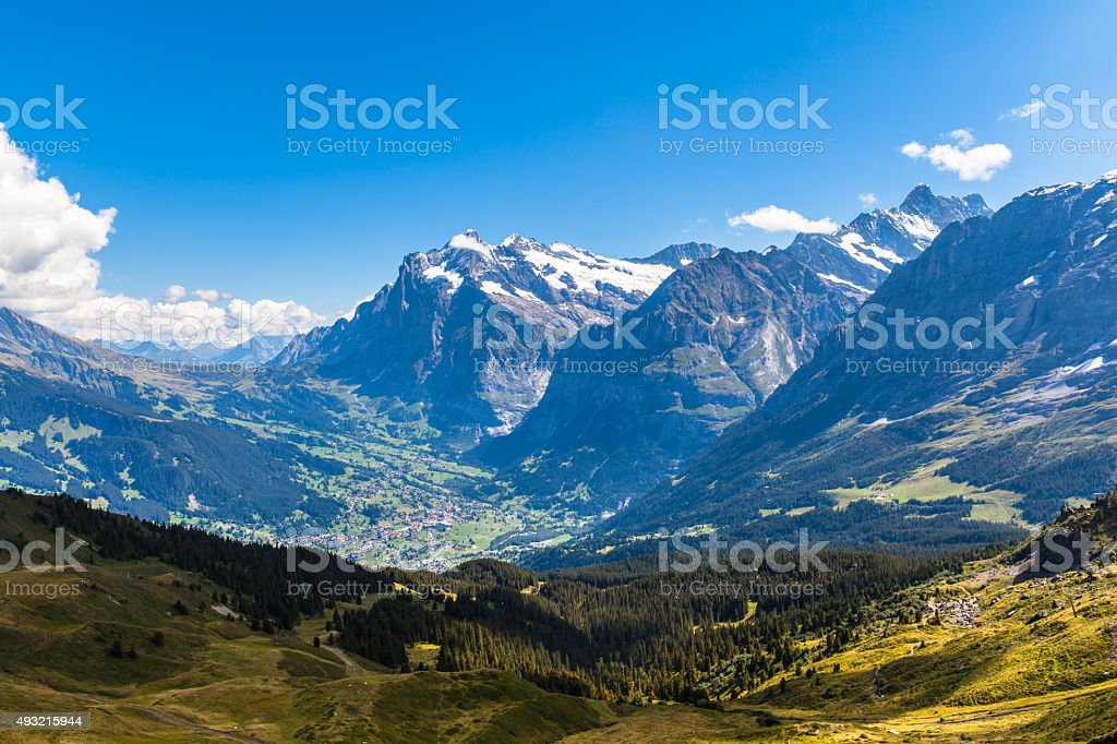 Panorama  view of Wetterhorn , Schreckhorn and Grindelwald stock photo