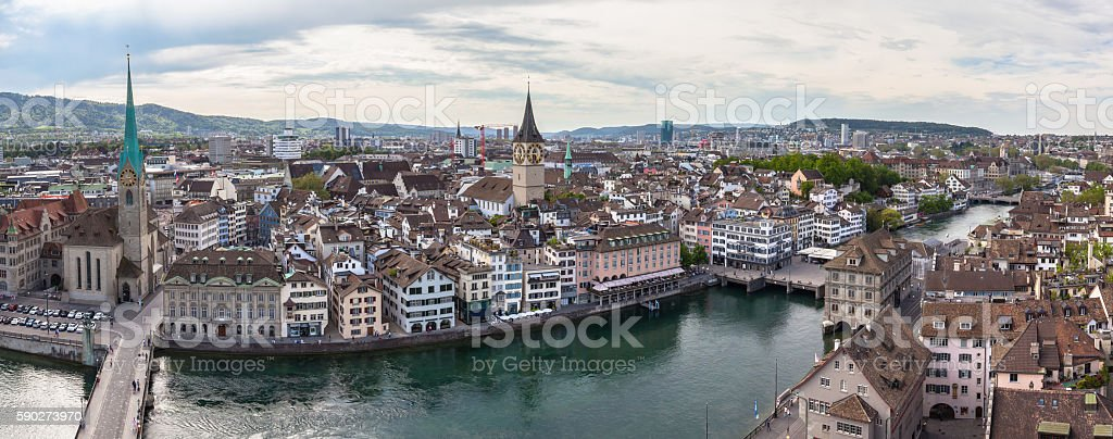 Panorama view of Zurich skyline stock photo