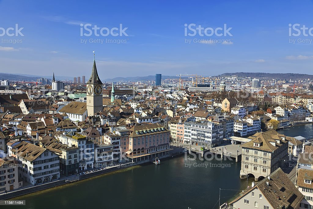 Panorama view of Zurich's city center and river nanna royalty-free stock photo