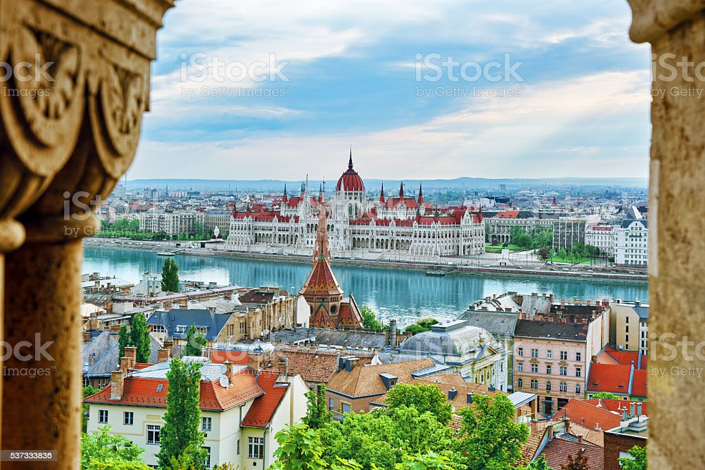 Panorama View on Budapest city from Fisherman Bastion. stock photo