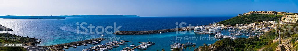 Panorama view on Mgarr port stock photo