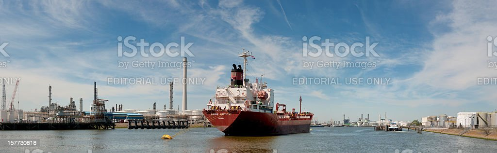 panorama view on moored cargo ship in harbor stock photo