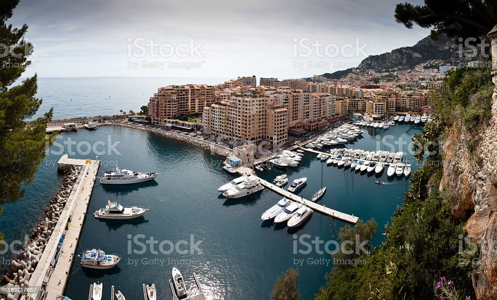 Panorama view on small port in Monaco stock photo