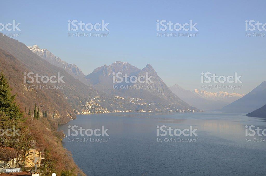 Panorama view over an alpine lake stock photo