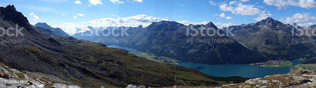 Panorama view over Lake Silvaplana (Graubunden, Switzerland) stock photo