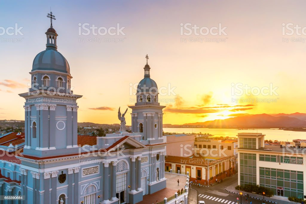 panorama view over Santiago de Cuba with cathedral and bay stock photo