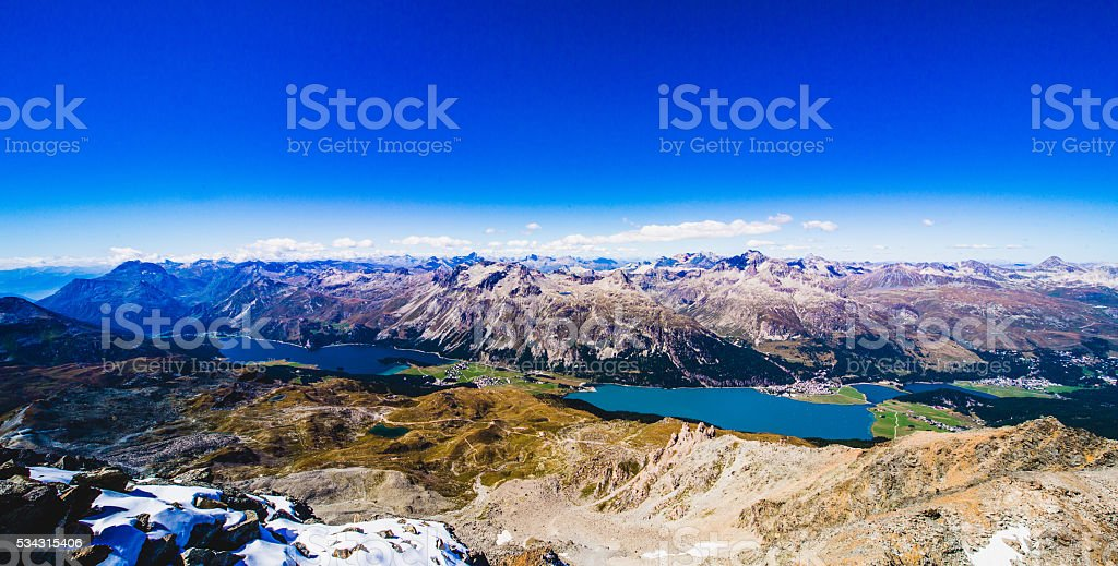 Panorama view Sils lake and swiss alps stock photo