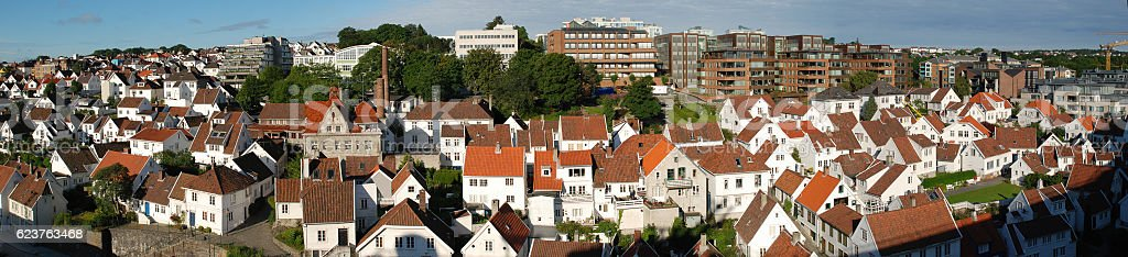 Panorama View to Old Stavanger (called Gamle Stavanger), Norway stock photo