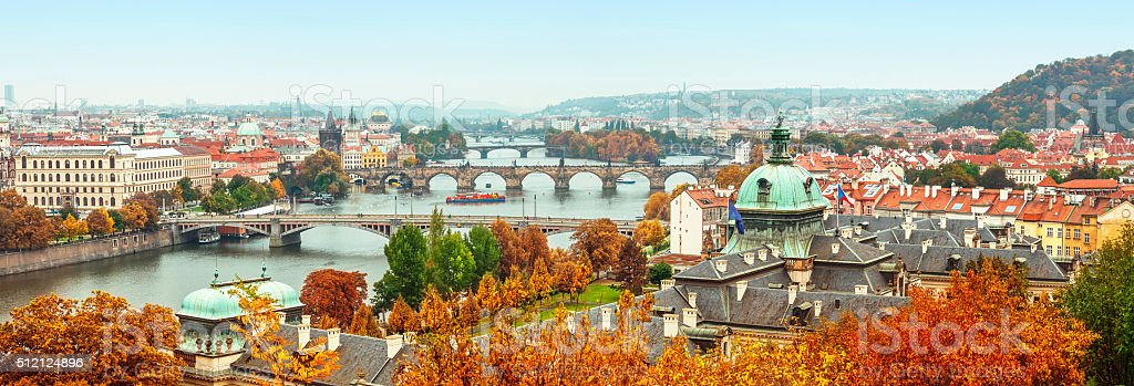 Panorama view to vltava river in prague stock photo