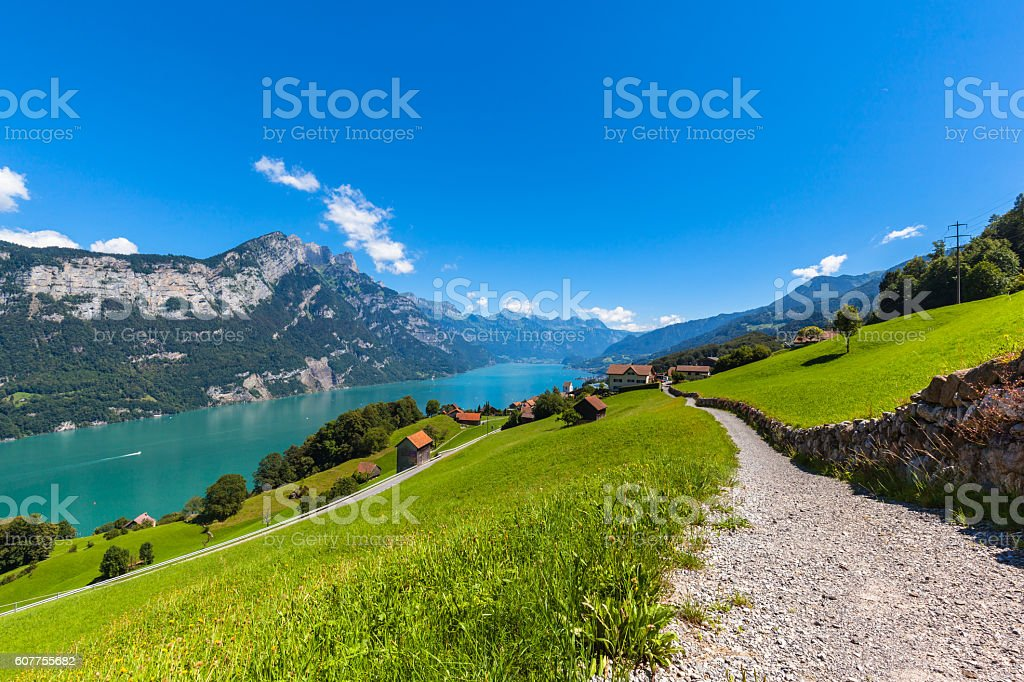 Panorama view Walensee lake and the Alps stock photo