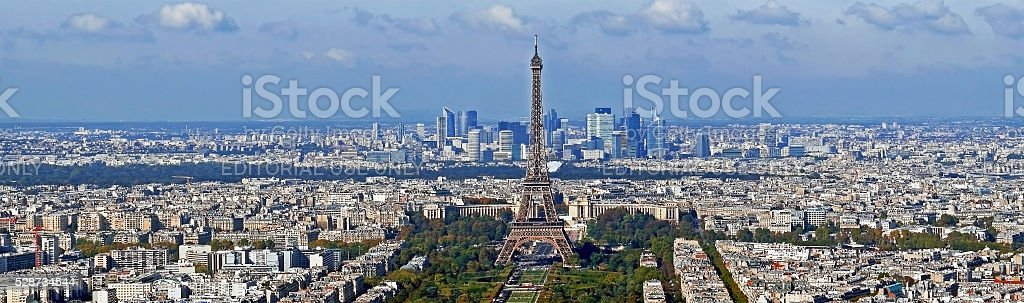 Panorama with aerial view, from Montparnasse tower in Paris stock photo