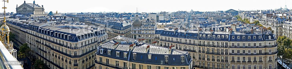 Panorama with aerial view from the terrace of store Printemps stock photo