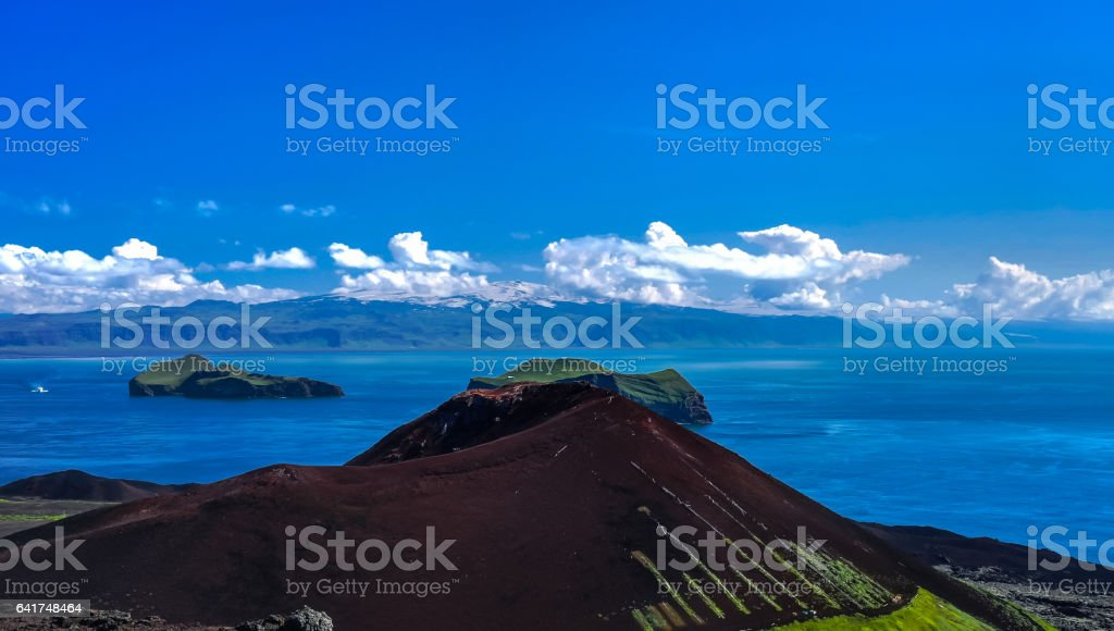 Panorama with Eldfell volcano in Heimaey island, Vestmannaeyjar archipelago Iceland stock photo