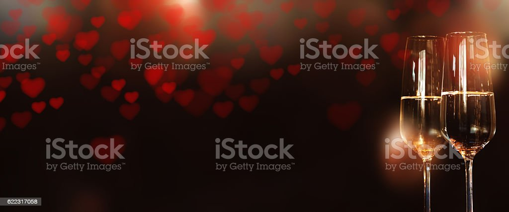 Panorama with heart and champagne for Valentines Day stock photo