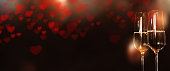 Panorama with heart and champagne for Valentines Day