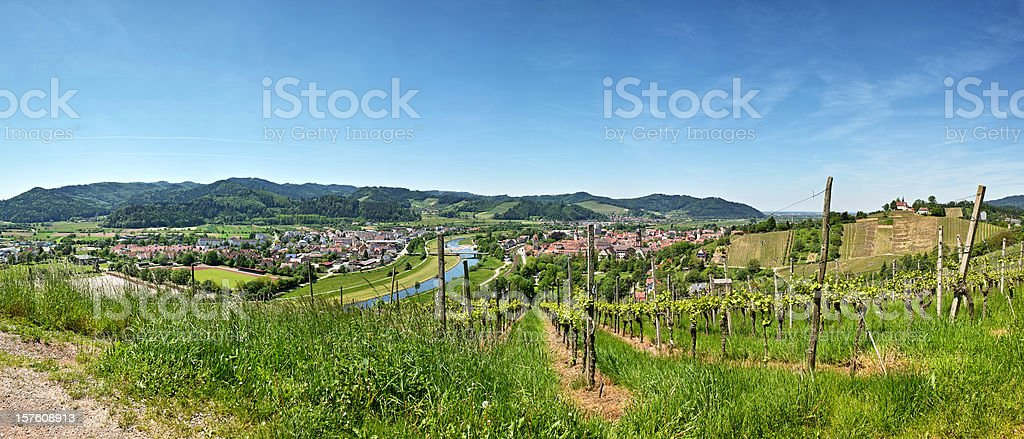 Panorama with Kinzig and City of Gengenbach in Black Forest stock photo