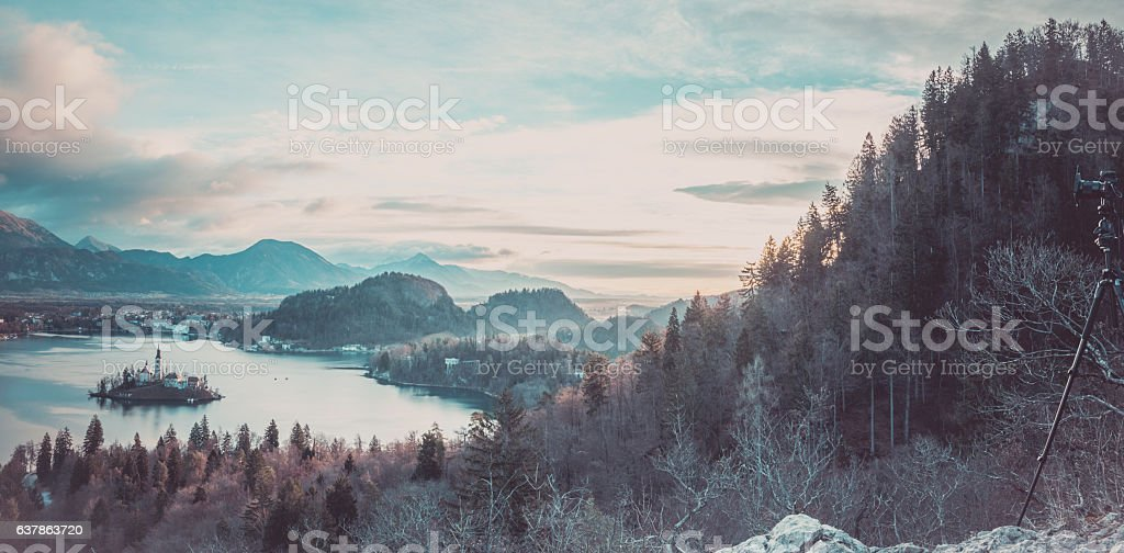 Panorama with lake Bled and the surroundings stock photo