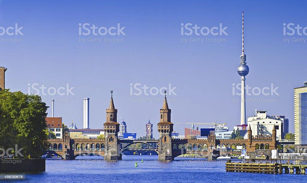 panorama with oberbaumbruecke in berlin stock photo