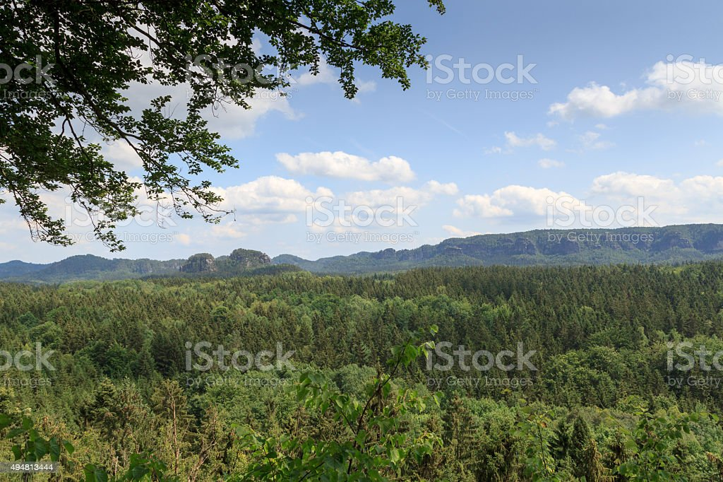 Panorama with rocks, mountains seen from Kuhstall in Saxon Switzerland stock photo