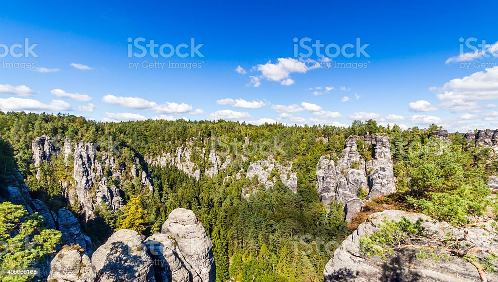 Panorama with typical rock pinnacles at Bastei in Rathen stock photo