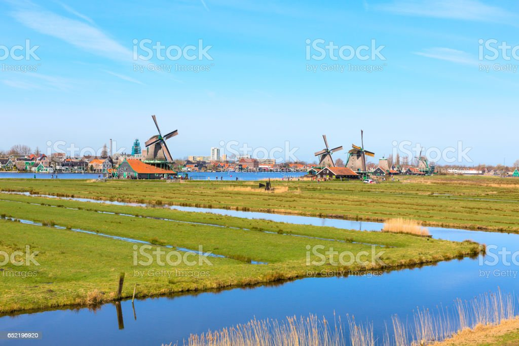 Panorama with windmills in Zaanse Schans, traditional village, Netherlands, North Holland stock photo