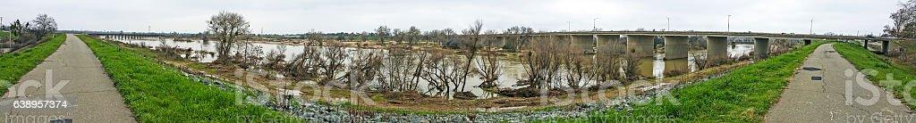 Panorama Yuba River River Flood Waters Marysville California Cell Phone stock photo