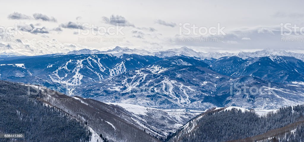 Panoramaic Winter View Beaver Creek Bachelor Gulch Aroowhead Ski stock photo