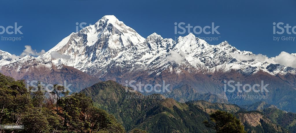 panoramatic view from Jaljala pass to Dhaulagiri Himal stock photo