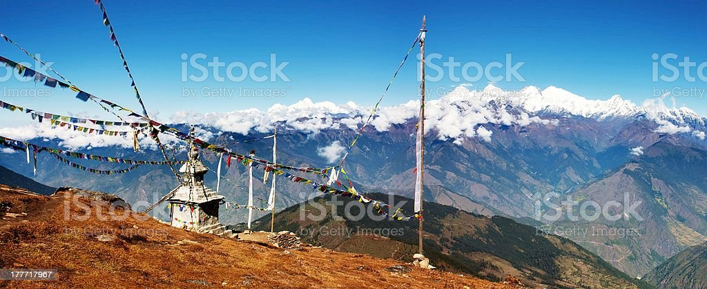panoramatic view from Langtang to Ganesh Himal stock photo