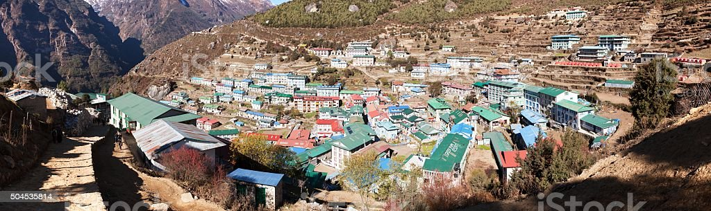 panoramatic view of Namche Bazar village stock photo