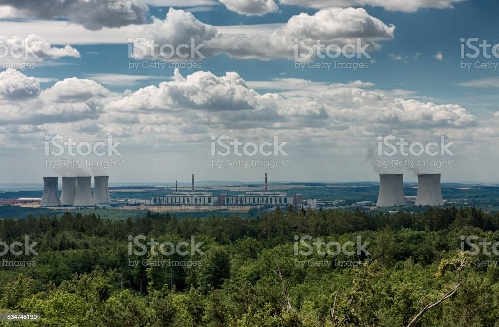 Panoramatic view of nuclear power plant Dukovany stock photo