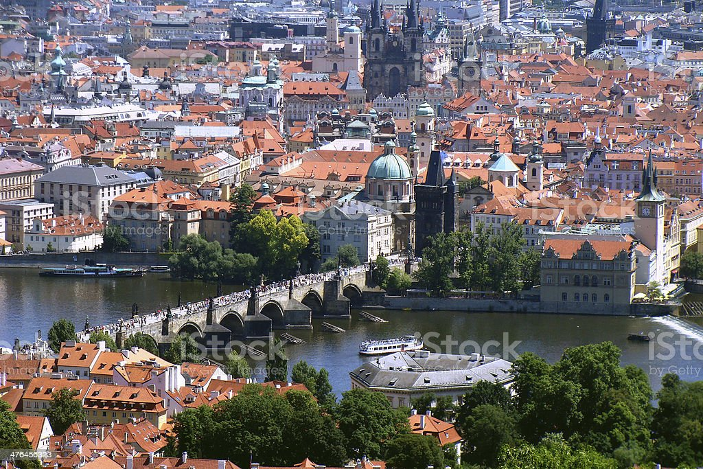 Panoramatic view of Prague city centre from the Petrin Hill royalty-free stock photo
