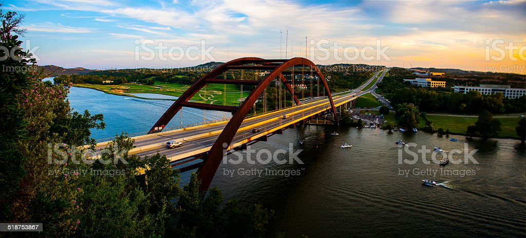 Panoramic 360 Bridge with Boats and Sunset stock photo