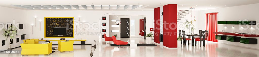 Panoramic 3d rendering of the interior of a modern apartment royalty-free stock photo