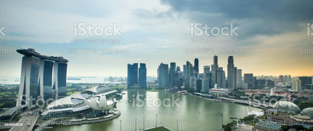 Panoramic aerial sunset view of Singapore business district stock photo