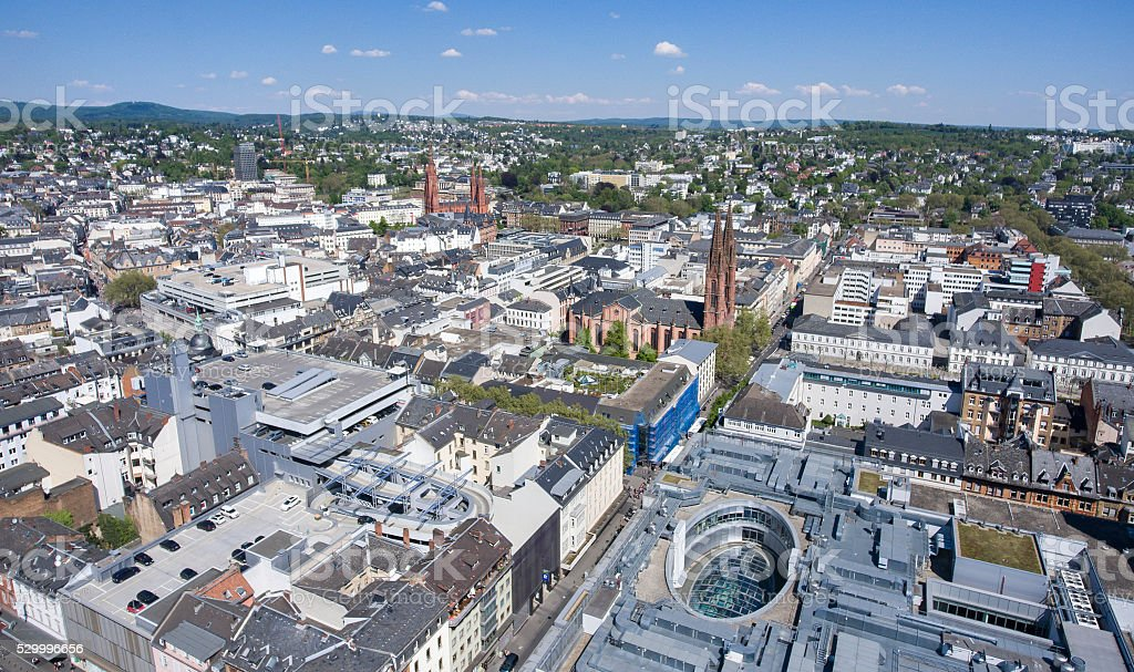 Panoramic aerial view - city of Wiesbaden, Germany stock photo