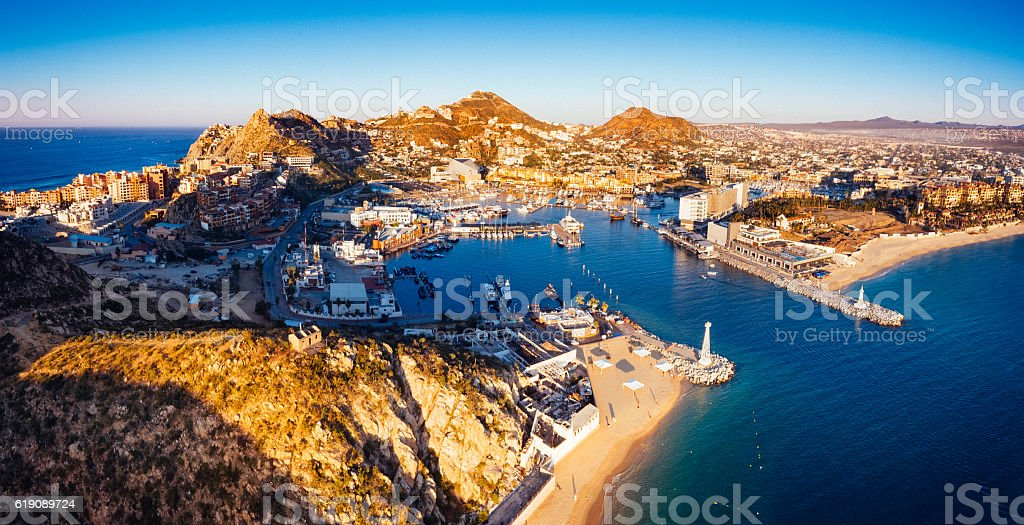 Panoramic Aerial View of Cabo San Lucas Mexico stock photo