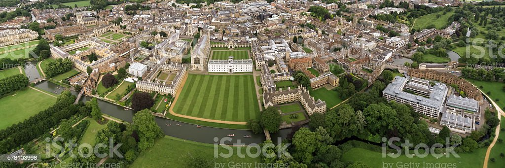 Panoramic Aerial View of Cambridge University stock photo