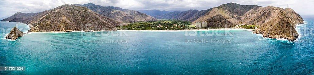 Panoramic aerial view of Cata Bay, Caribbean Sea Venezuela stock photo