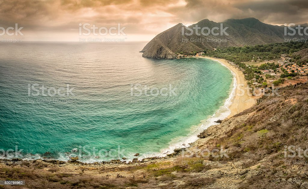 Panoramic aerial view of Chuao bay, Caribbean Sea Venezuela stock photo