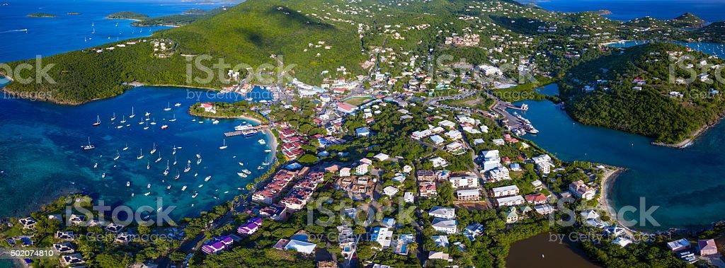 panoramic aerial view of Cruz Bay, St.John, USVI stock photo