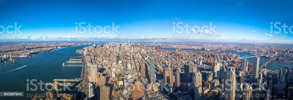 Panoramic aerial view of entire Manhattan - New York, USA stock photo