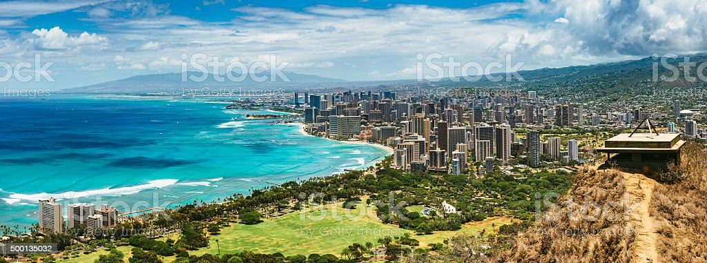 Panoramic Aerial View of Honolulu stock photo