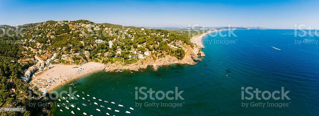 Panoramic Aerial View of La Costa Brava stock photo