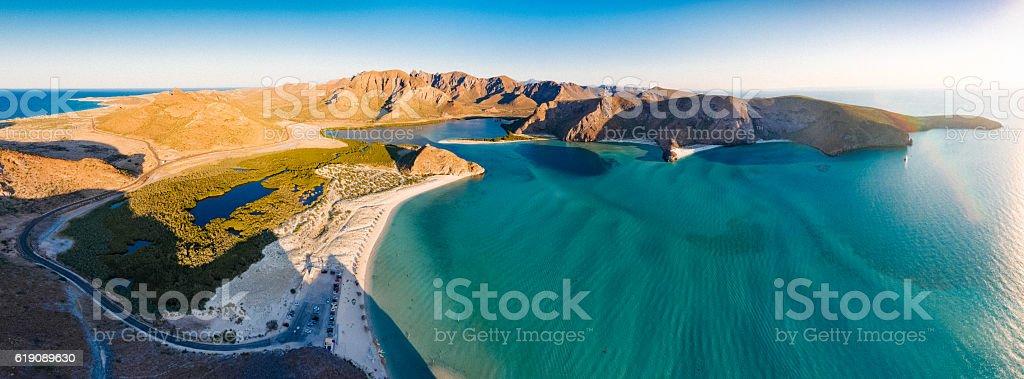 Panoramic Aerial View of La Paz Beach Mexico stock photo