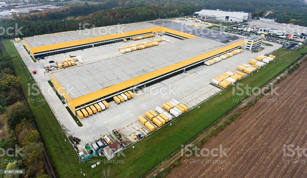 Panoramic aerial view of large distribution center stock photo