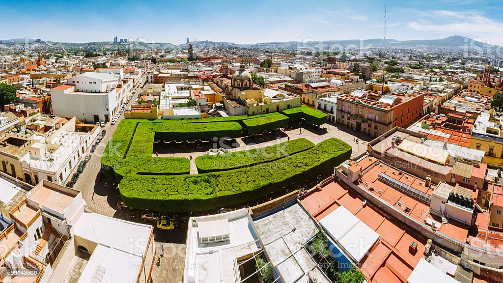 Panoramic aerial view of Santiago de Queretaro Mexico stock photo