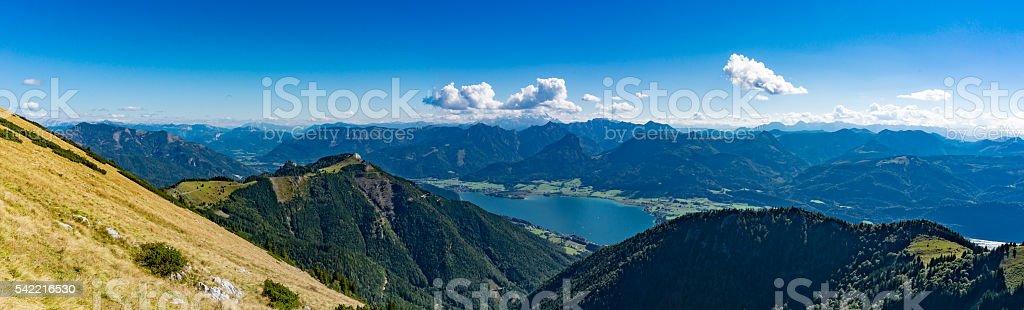 Panoramic aerial view of Wolfgangsee lake from Schafberg, Austri stock photo