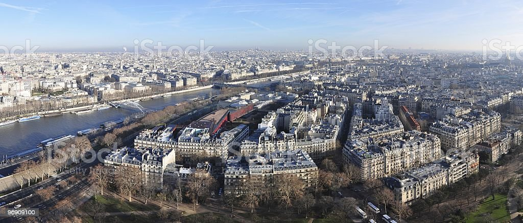 Panoramic aerial view on Paris from the Eiffel Tower royalty-free stock photo