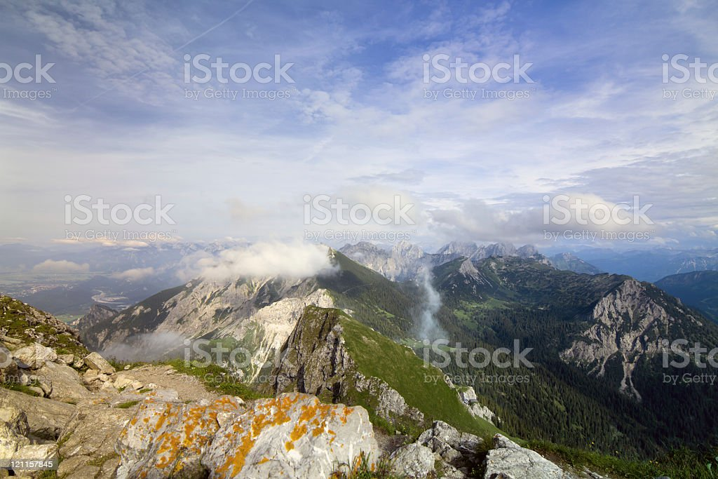 panoramic alpine view in austria stock photo